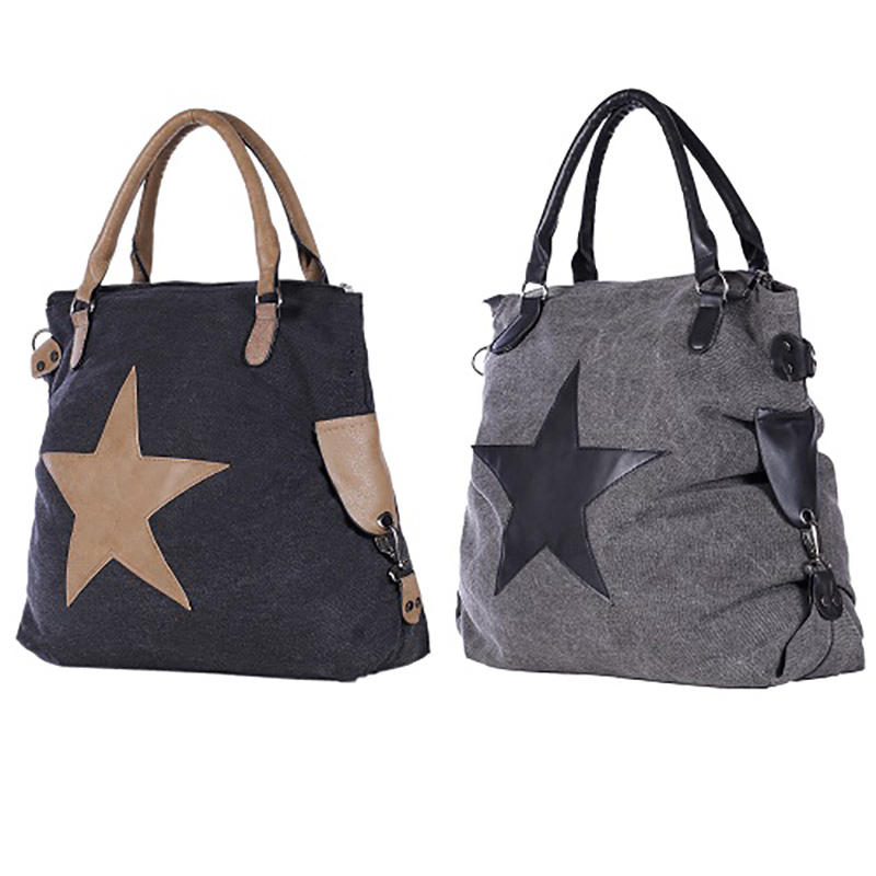 a70099d134916 ... Stern Tasche Handtasche Schultertasche Stofftasche grau schwarz Canvas  Stoff ...